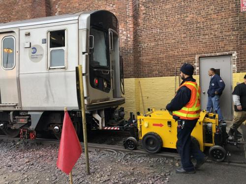 Power Pusher Rail Mover Moving NYC Subway Car